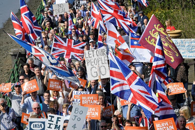A pro Brexit protest in 2019